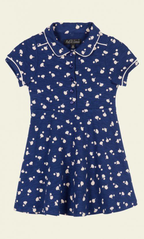 Petit Louie Diner Dress Chatter - Jet Blue