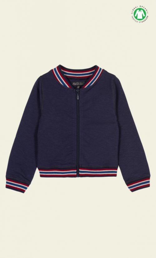 Petit Louie Baseball Jacket Uni Slub Sweat - Dark Navy