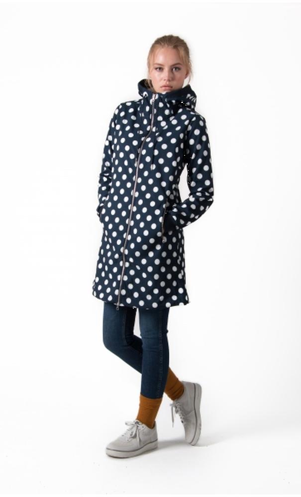 Danefae Jane Softshell Jas - Navy Offwhite Dots