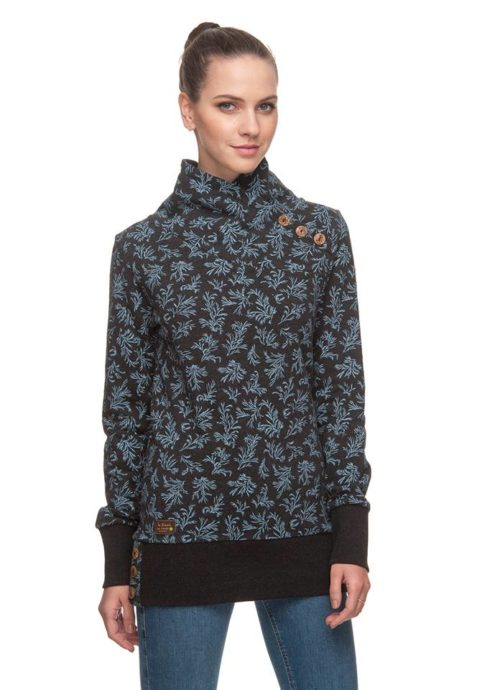 Ragwear Nest Print Organic Sweatshirt - Black