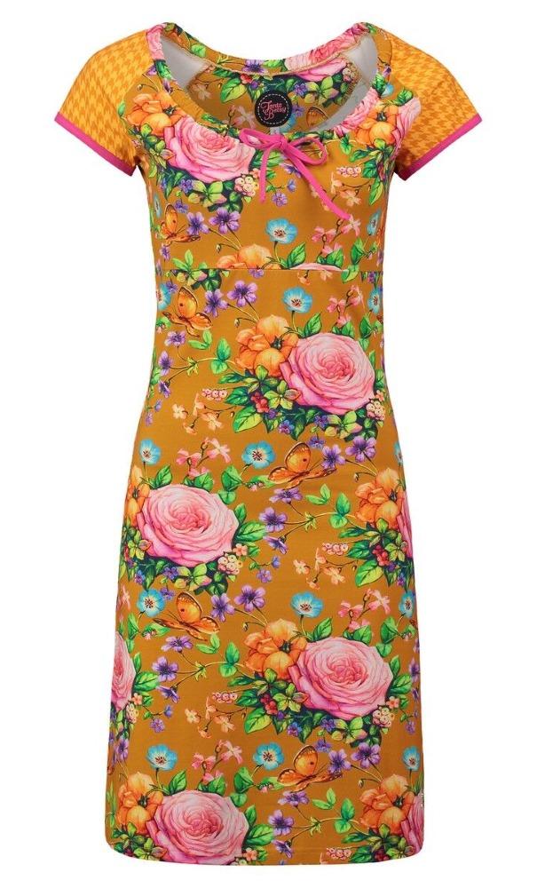 Tante Betsy Carmen Dress Butterfly Roses Gold