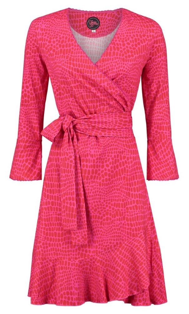 Tante Betsy Ruffle Wrap Dress Animal