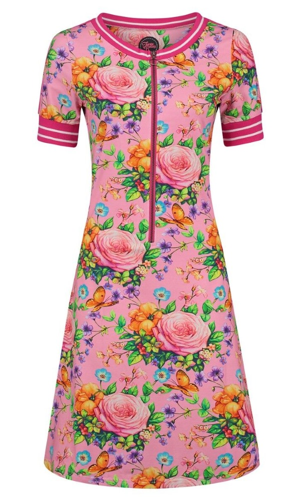Tante Betsy Dress Pepper Butterfly n Roses - Pink
