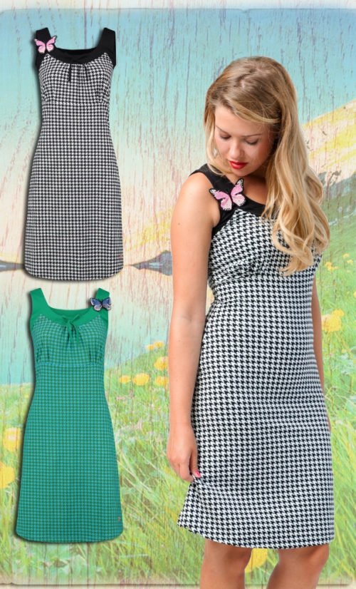 Tante Betsy Dress Josephine Houndstooth - Black