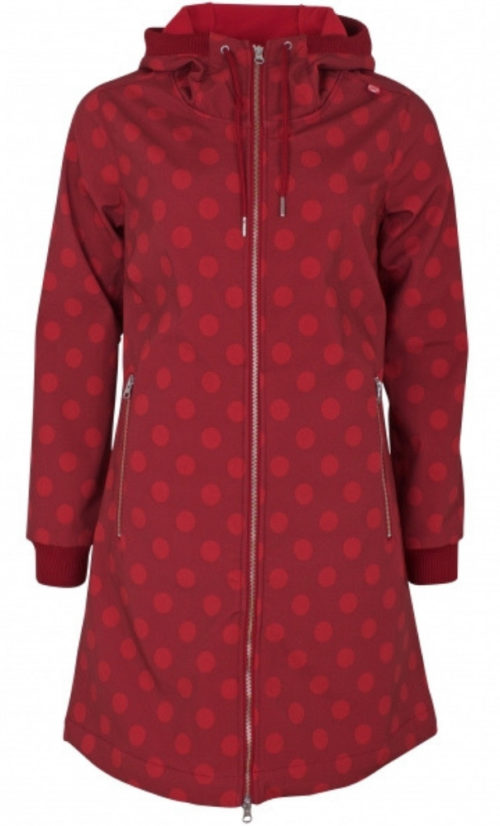 Danefae Jane Softshell Jas - Dark Red with Dots