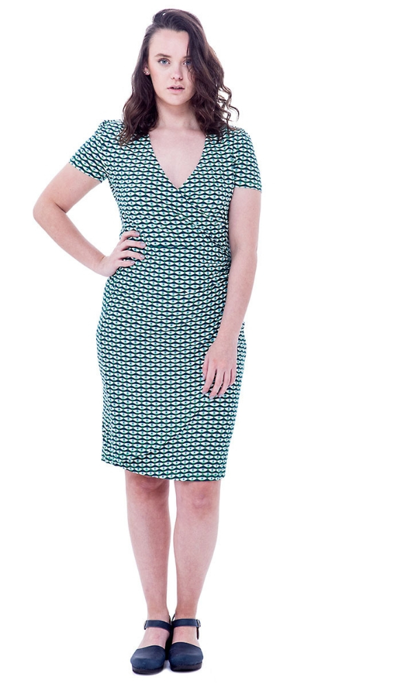 Bakery Ladies V Neck Dress Over Lap - Eye