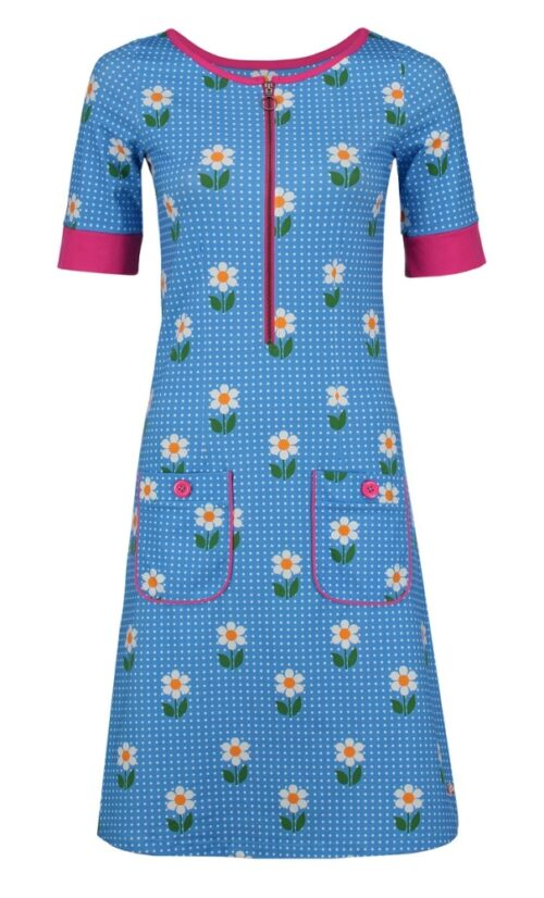 Tante Betsy Dress Nova DAisy Dot - Blue
