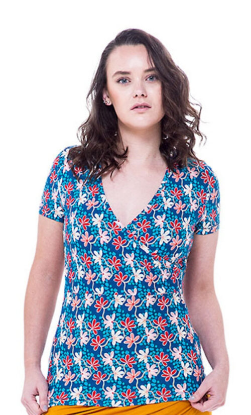 Bakery Ladies V Neck Shirt Overlap Mini Flower