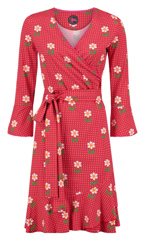 Tante Betsy Ruffle Wrap Dress Daisy Dot