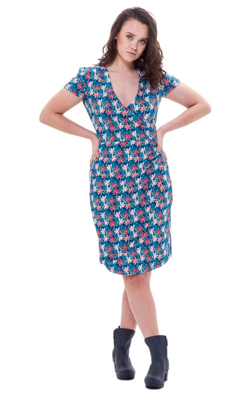 Bakery Ladies V Neck Dress Over Lap Mini Flower