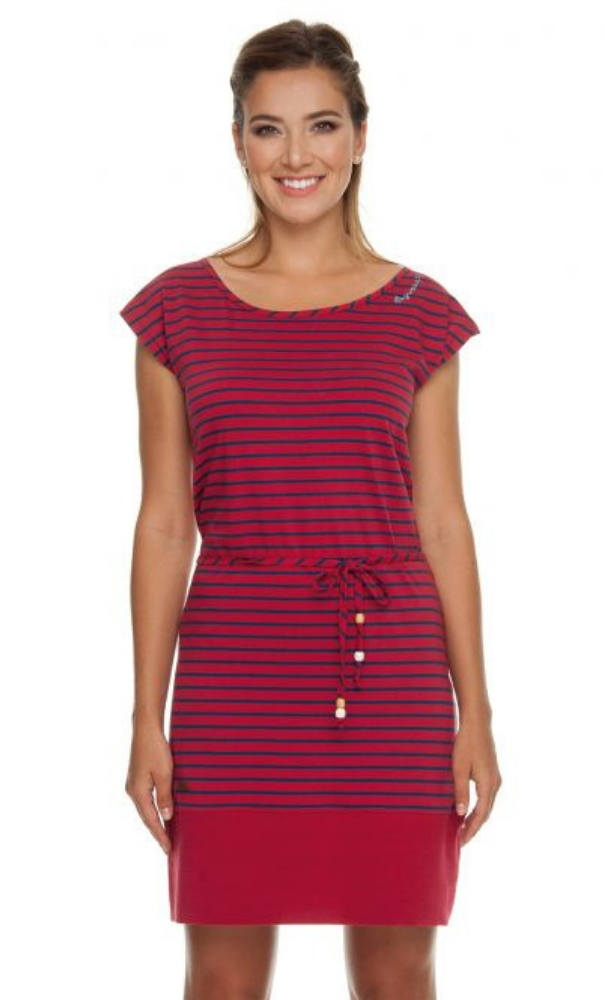 Ragwear Soho Stripes Dress - Chili Red