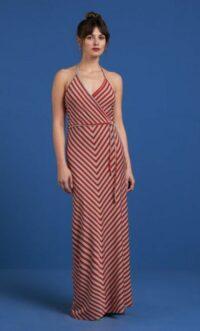 King Louie Maxi Halter Dress Rimini Stripe