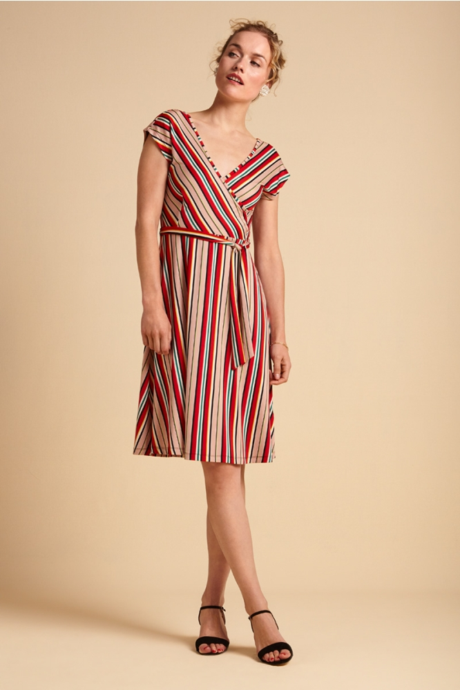 King Louie Mria Dress Lido Stripe Chili Red
