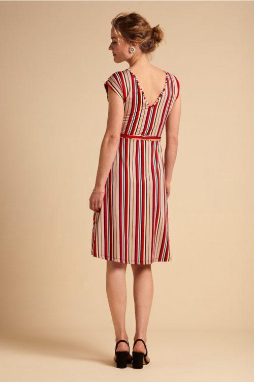 King Louie Mria Dress Lido Stripe Chili Red