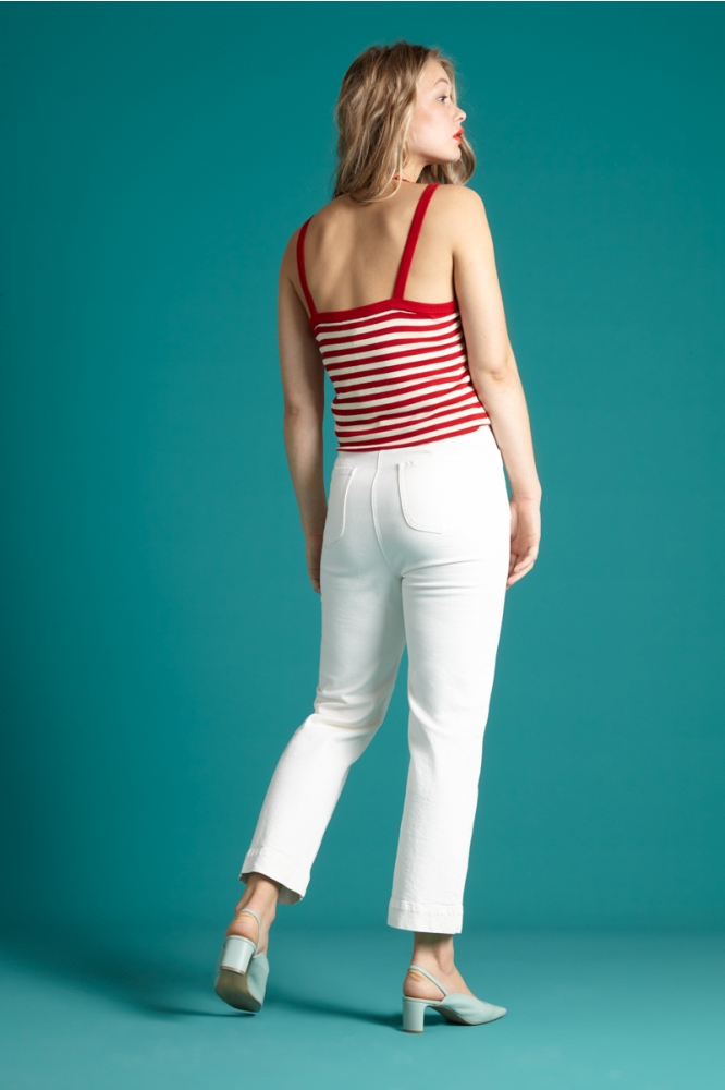King Louie Isa Knot Camisole Classic Stripe Chili Red